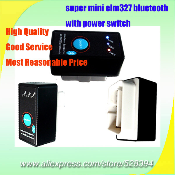 Wholesale High Quality V1.5 OBDII OBD OBD2 Scanner super mini elm327 <font><b>bluetooth</b></font> with power switch