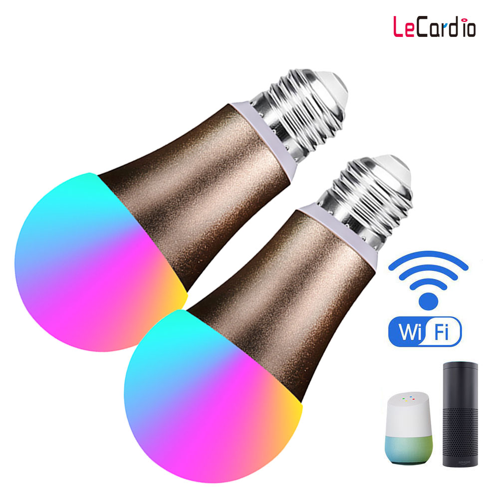 7 W Wifi ampoule intelligente Dimmable RGBW lampe à LED sans fil E27 lumières de réveil Compatible avec Alexa et Google Home 2 pièces