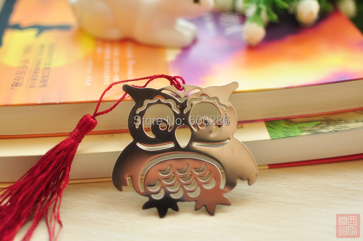 Wholesale 200pcs/lot Creative Owl Metal Bookmarks Wedding Thanking Gifts  Souvenirs Baby Shower Return Gifts