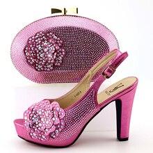 dfd247ce0d4027 Fushia rose aso ebi de noce avec beaucoup de pierres de haute talon 4.4  pouces chaussures et sac italie chaussures tendance et e.