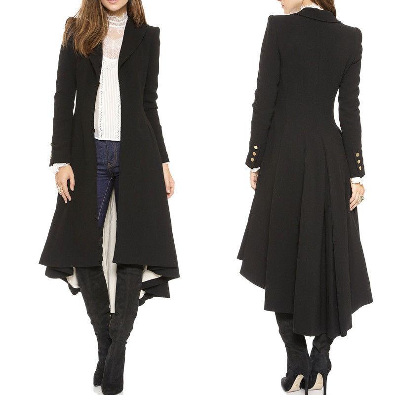 Victorian Women Steampunk Swallow Tail Goth Long Waterfall Trench Coat Outwear Black