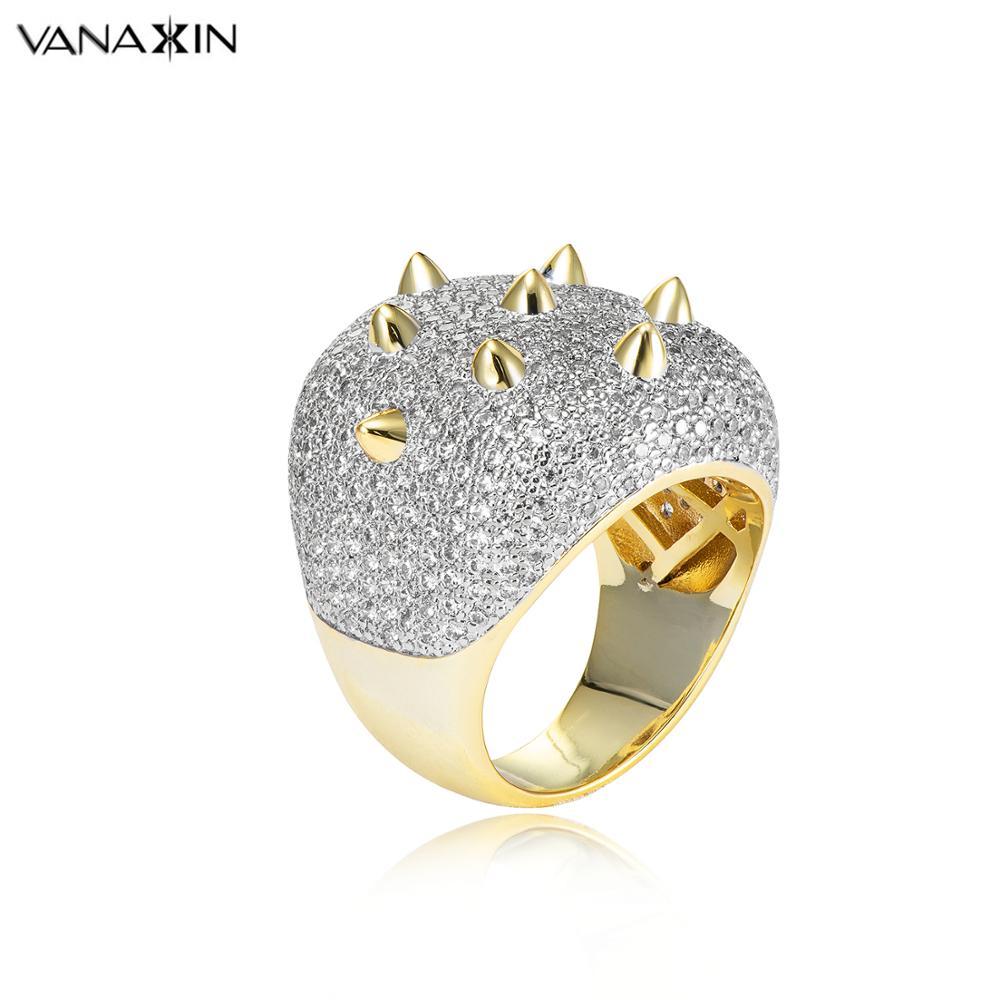 VANAXIN Cool Punk anneaux bijoux de luxe grands anneaux pour les femmes cubique zircone anneau couleur or auto-défense fête cadeau Cocktail anneau