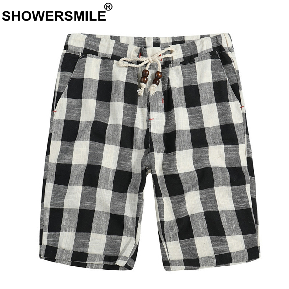 SHOWERSMILE Plaid   Board     Shorts   Men 5Xl Black And White Checkered Cotton Bermuda   Shorts   Male Loose Summer Drawstring   Short   Pants