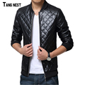 TANGNEST Men's Leather Jacket 2017 New Fashion Men Casual PU Solid Jackets Male Stand Collar Spring Autumn Coat MWJ2175