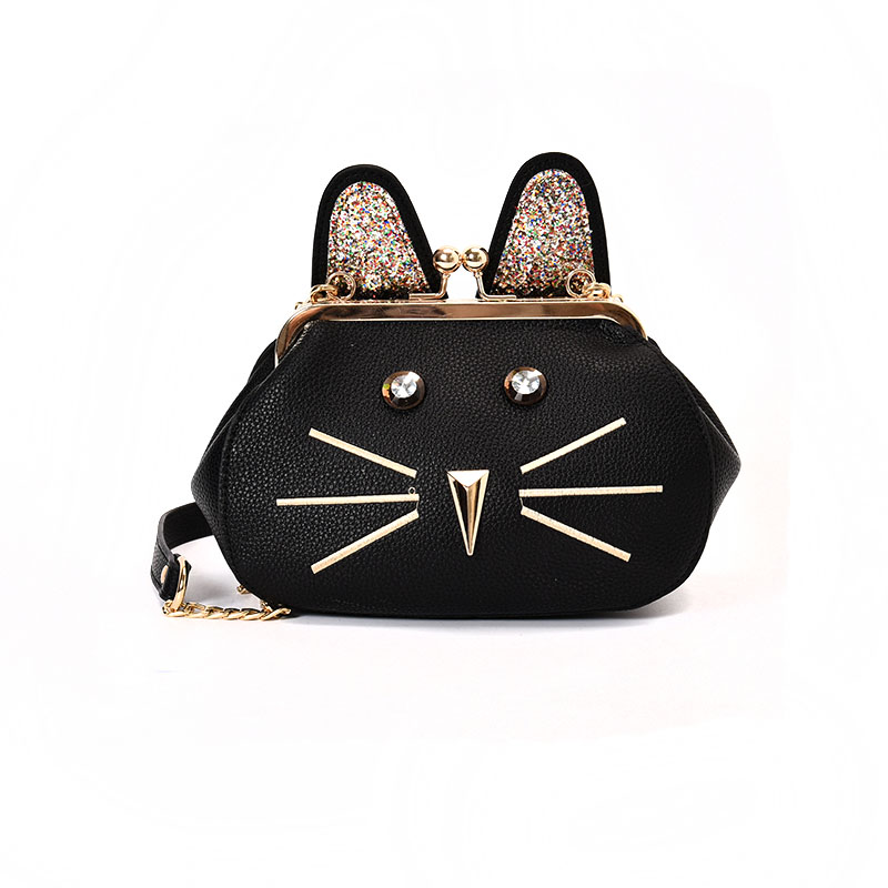 2017 New Chain Shoulder Bag Ladies Shell Bag Cat PU Leather Handbag Women Messenger Crossbody Small Bag jialante 2017 new lizard leather bag is made of simple small shell bag customized for 15 days