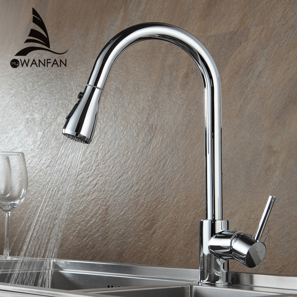 Kitchen Faucets Chrome Pull Out Kitchen Tap Single Hole Handle Swivel 360 Degree Water Mixer Tap Silver Single Handle 866002 micoe pull style hot and cold water kitchen faucet mixer single handle single hole modern style chrome tap 360 swivel m hc103