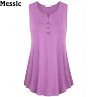 Summer Sleeveless Curved Hem Solid Tee Women Tanks With Buttons Long Loose Tunic Casual Vest Plus