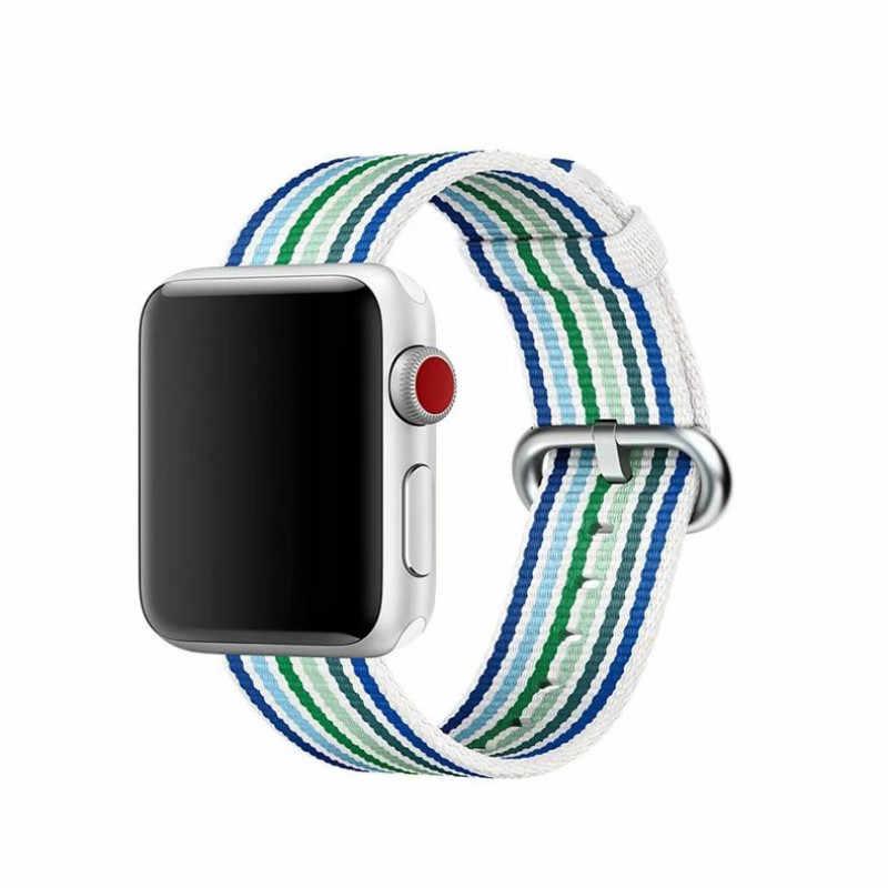 Anyaman Nilon Olahraga Loop Tali untuk Apple Watch Band Series 5 4 3 2 IWatch Gelang Sport Band untuk Apple Watch 42mm/ 38 Mm/44 Mm/40 Mm