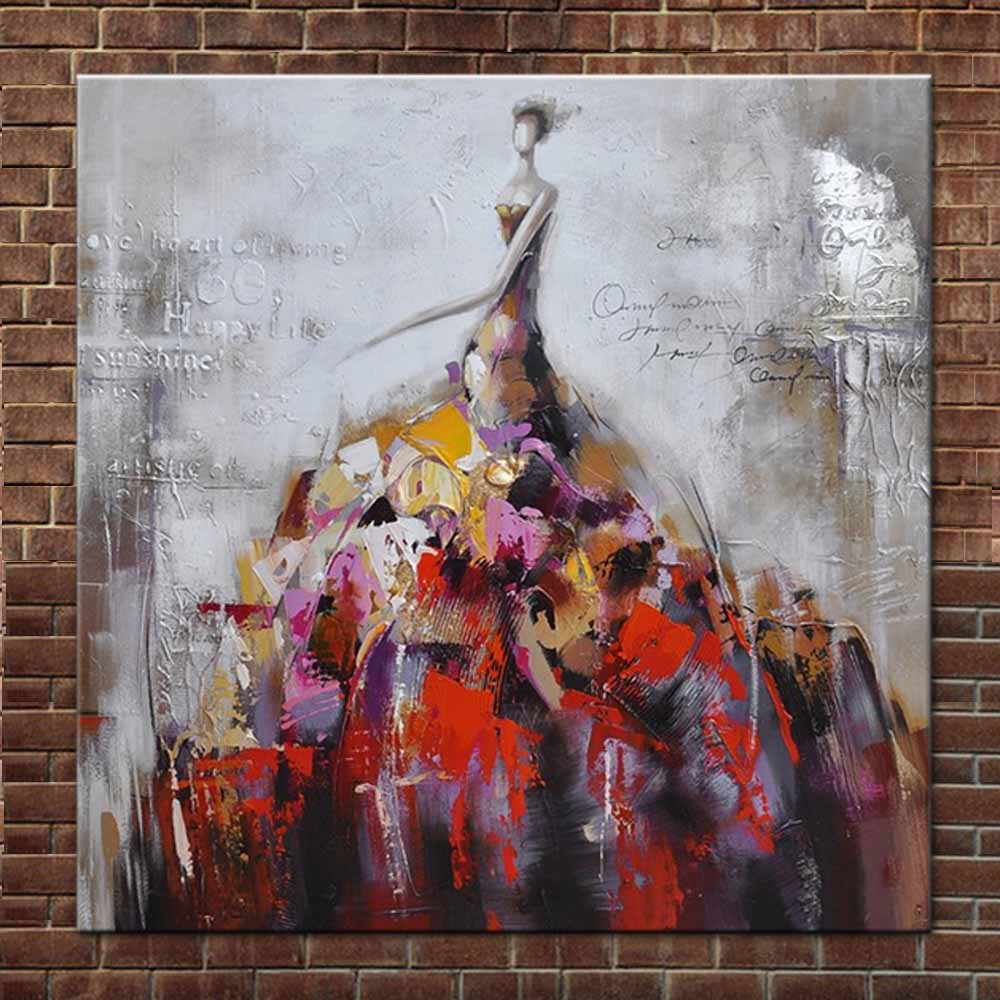 Hand Painted Modern Abstract Figure Art Canvas Oil Painting Abstract Modern Girl Figure Wall Picture Living Room Home Wall Decor