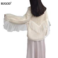 RUGOD 2018 Fashion Spring Cardigan Women Casual Loose Mesh Stitching Women Cardigan Knitted Long Sleeve Cashmere Sweater