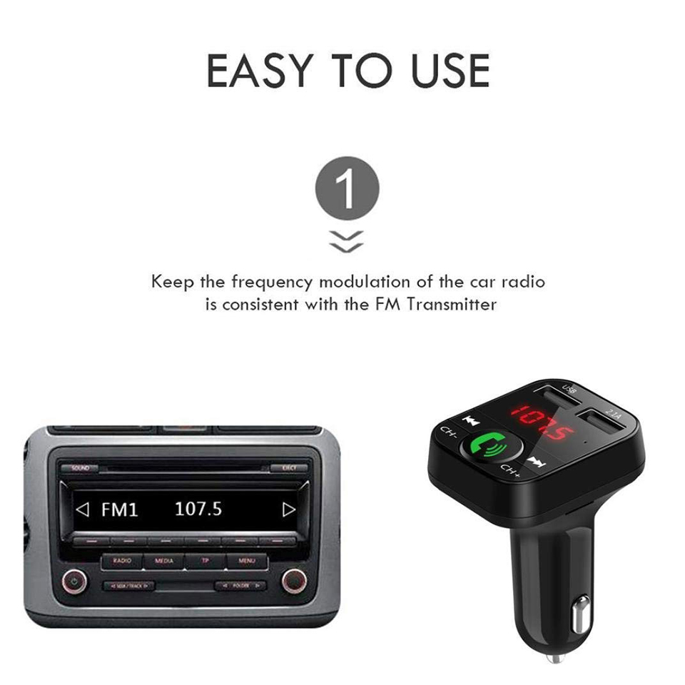 Tendway Car Phone Charger Wireless Bluetooth Car Kit Led Display