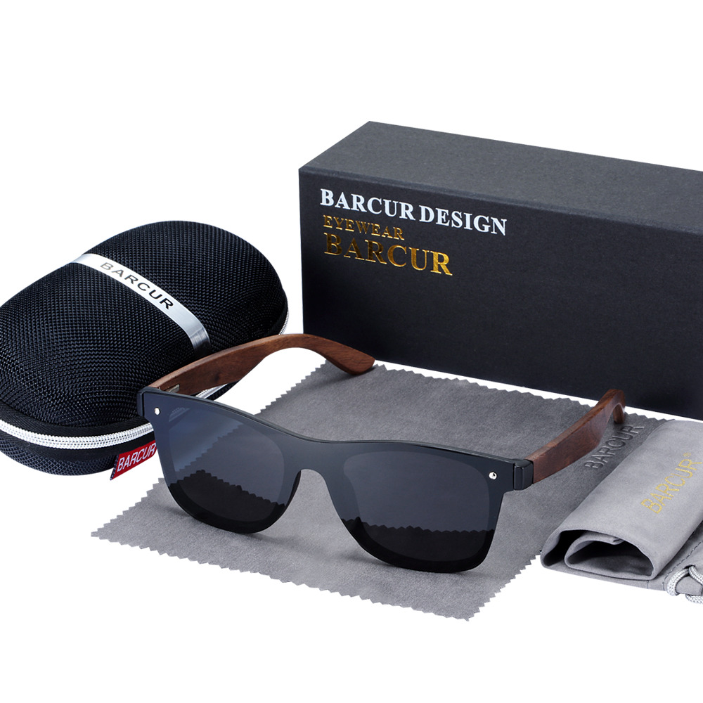 BARCUR Luxury Vintage Sun Shade Men Wooden Sunglasses UV400 Protection Fashion Square Sun glasses Women 11