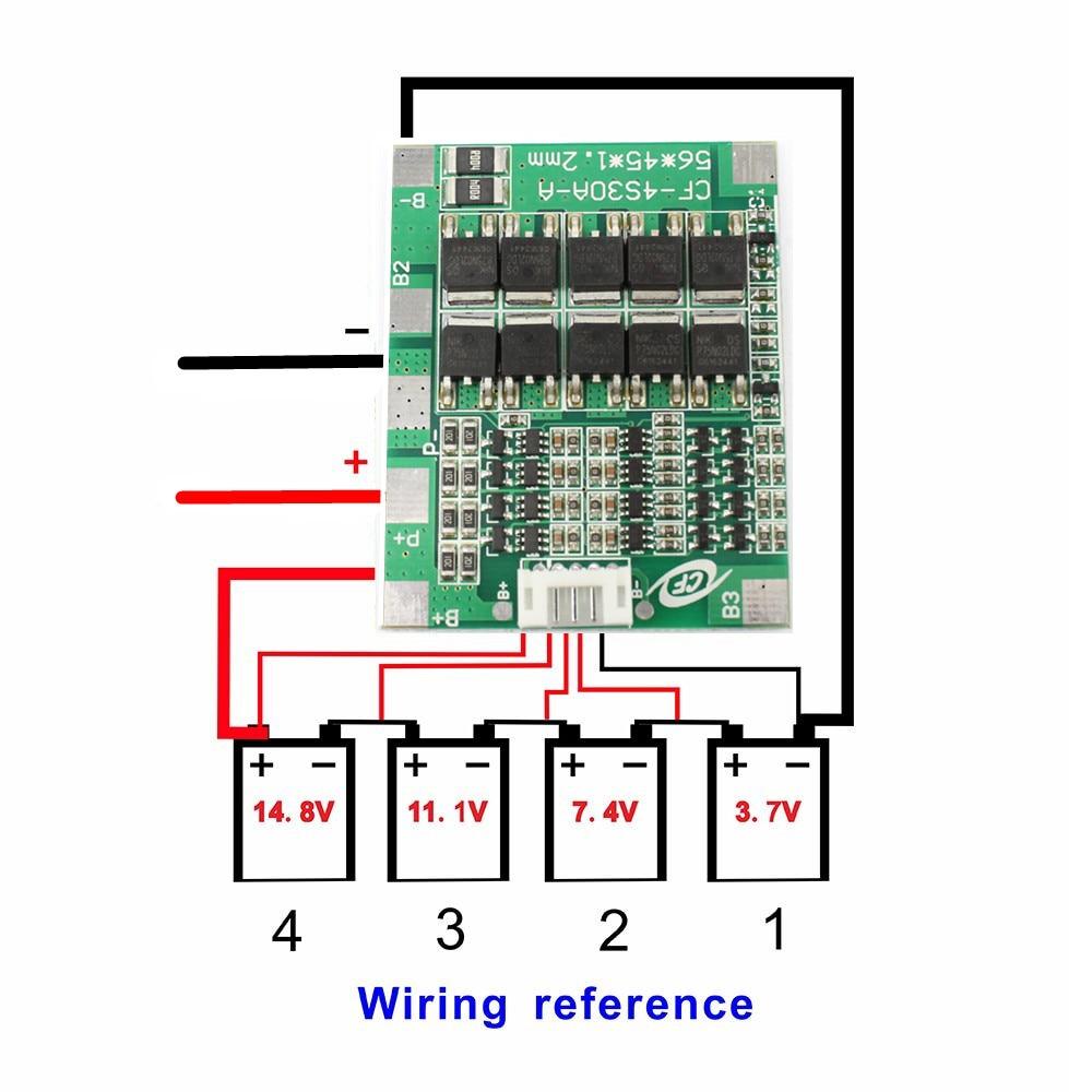 Флюоресцентный литий-ионный аккумулятор 14,8, 30 А, 18650 в, блок BMS, электронный модуль интегрированных схем баланса