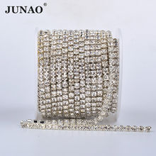 JUNAO High Quality SS6 8 10 12 16 18 Silver Gold Base Glass Rhinestone Dense Chain Clear Crystal Appliques Trim Strass Banding(China)
