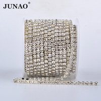 Junao Hoge Kwaliteit SS6 8 10 12 16 18 Zilver Goud Base Glas Strass Dichte Chain Clear Crystal Applicaties Trim strass Banding