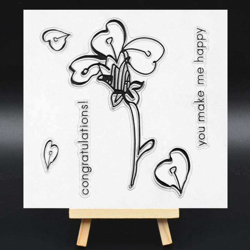 Flower Pattern Transparent Clear Silicone Stamp/Seal for DIY scrapbooking/photo album Decorative clear stamp sheets lovely animals transparent clear silicone stamp seal for diy scrapbooking photo album decorative clear stamp sheets