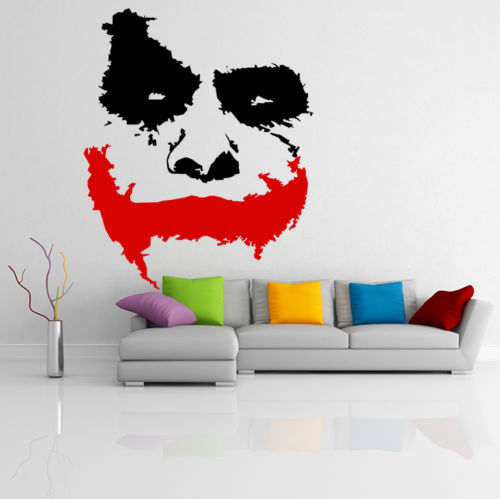 Vinyl wall stickers room decor art decals removable wallpaper scary joker face movie batman the dark knight sticker mural in wall stickers from home
