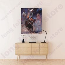 Western Cowboy Bullfighting Canvas Painting Poster & Print Artwork Landscape Portrait Wall Art for Home Decor