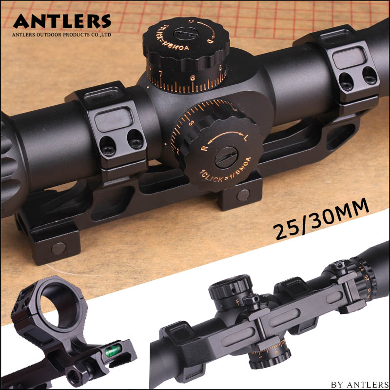 Rifle Optic Scope Mount 25.4mm/30mm Rings Mount with Bubble Level fit 20mm Picatinny Rail for Tactical Gun AR15 Hunting image