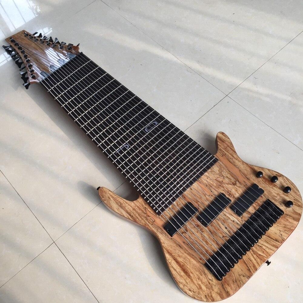 Guitare basse électrique à 17 cordes, touche en palissandre, incrustation de frettes, offre personnalisée