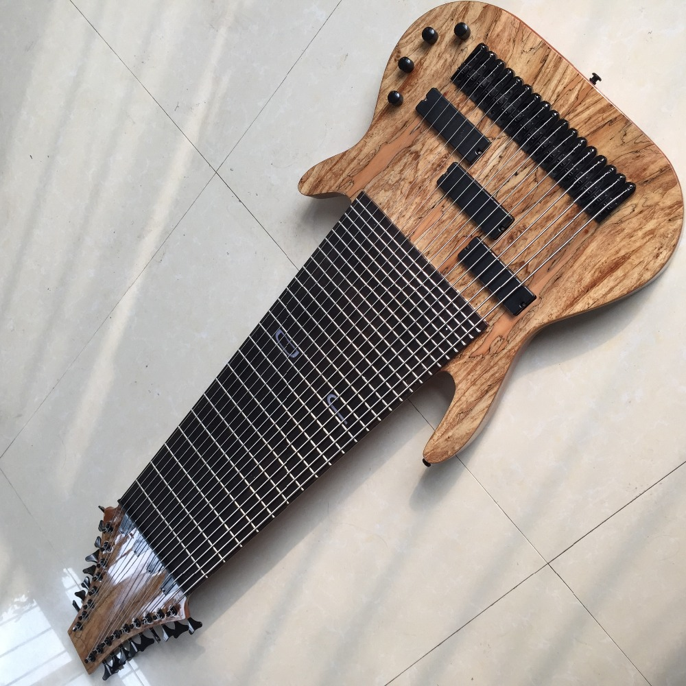 Factory Custom 17 Strings Electric Bass Guitar Rosewood Fingerboard no Frets Inlay Offer Customized