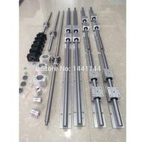 RU delivery 6set linear guide Rail SBR16 300/600/1000mm + ballscrew SFU1605 300/600/1000mm + BK/BF12 + Nut housing CNC parts