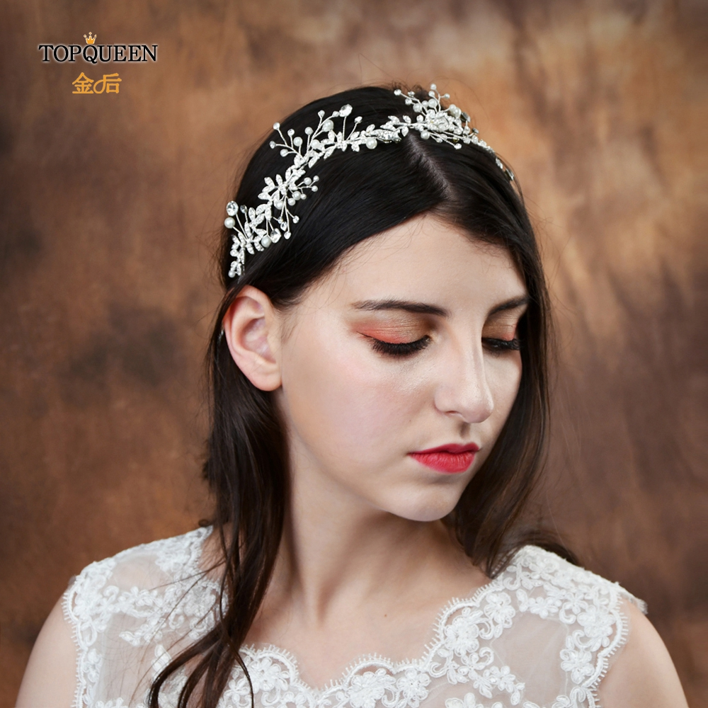 TOPQUEEN HP233-S Wedding Hair Ornaments For Women Bridal Headband Tiaras For The Bride Garlands Alloy Leaves Wedding Headpieces