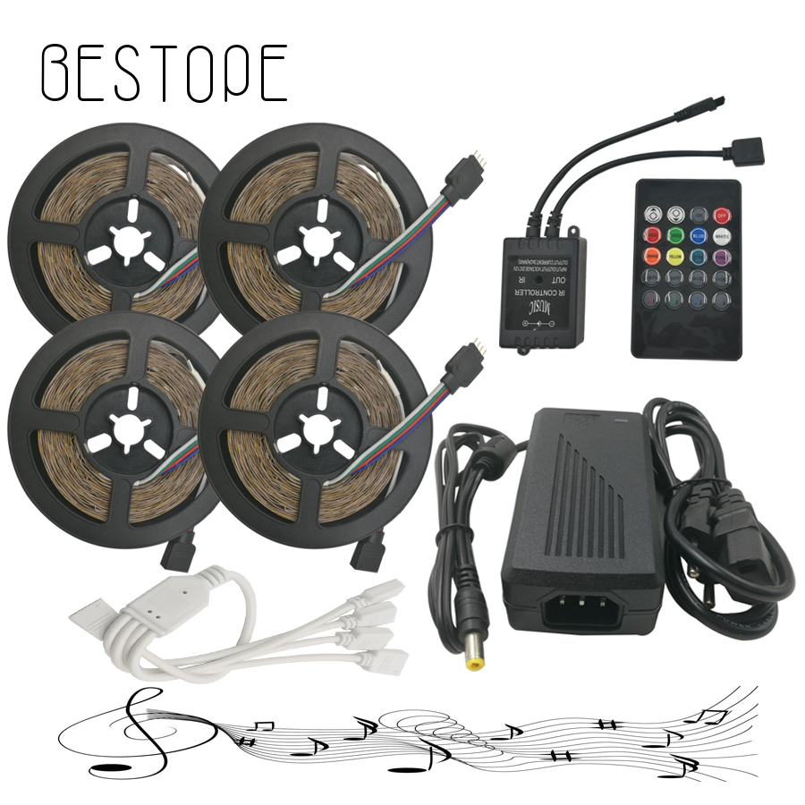 RGB LED Strip 5M 10M 15M 20M 2835 LED light lamps Waterproof SMD RGB Lights LED Ribbon Tape set+RGB Controller+12V Power Supply 5m 10m rgb led strip 12v 60 leds m smd 2835 waterproof flexible tape ribbon colorful rope light string lamp led controller power
