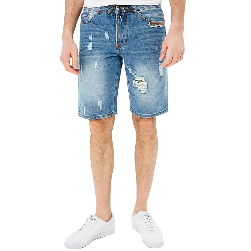 Casual Shorts MODIS M181D00264 men cotton shorts for male TmallFS casual summer ripped straight legs zip fly denim shorts for men