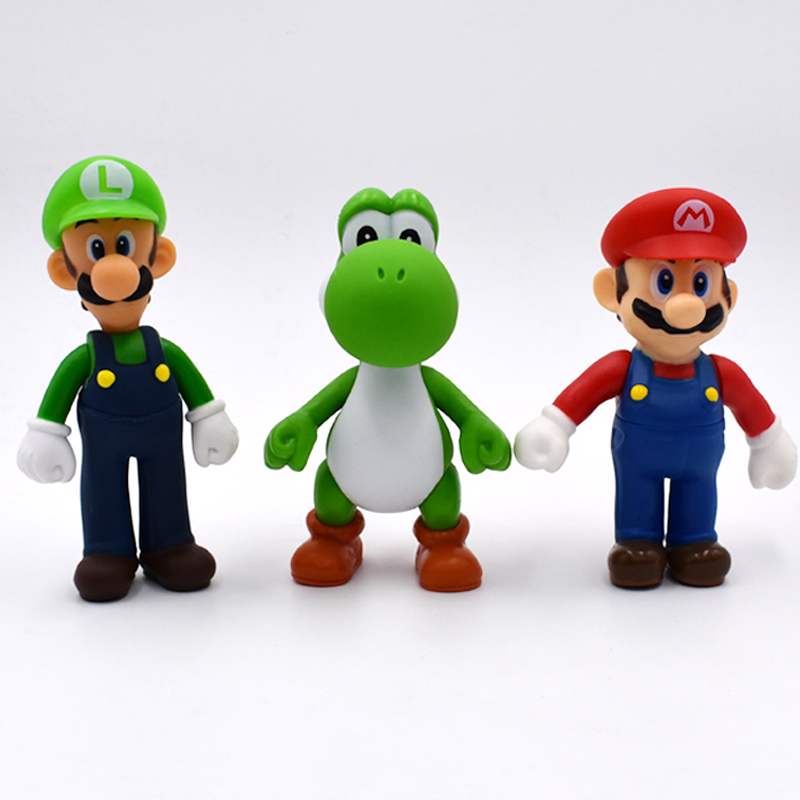 13cm 3Pcs/Set Super Mario Bros Luigi Mario Yoshi PVC Action Figures Toys Free Shipping