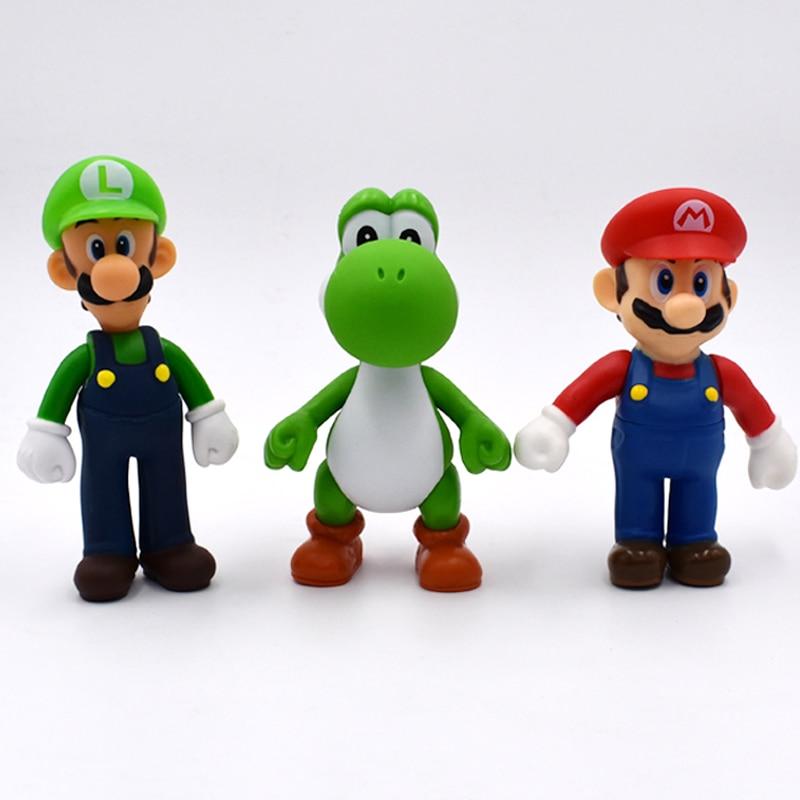 13cm 3Pcs/Set Super Mario Bros Luigi Mario Yoshi PVC Action Figures Toys Free Shipping
