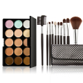 Professional 15 Colors Contour Face Cream Makeup Concealer Palette 10PC Black Brush With pouch Support Wholesale