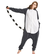 Animals Lemur Cat Onesie Adults Cartoon Madagascar Monkey Pajama Women Men Funny Costume Party Carnival Gray Long Tail Overalls