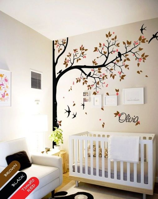 nursery wall decal tree, swallows and baby name, baby room decor