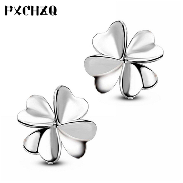 Female Fashion Simple Clover Silver Earrings Love Heart Shaped Jewelry Anti