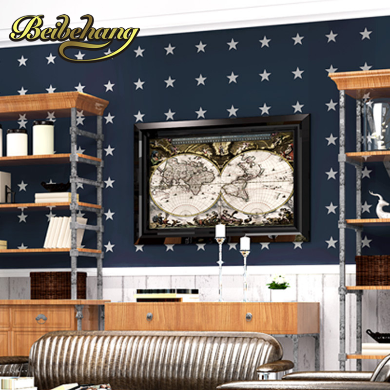 beibehang wall paper Pune dark blue five-pointed star living room non-woven wallpaper bedroom full shop wallpaper backdrop sofa