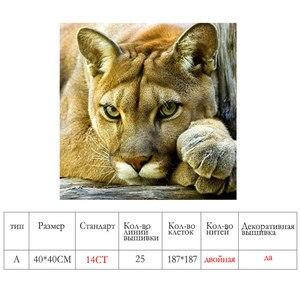 Image 2 - Meian, FAI DA TE Animali Leone, Ricamo, Bianco Pieno Ricamo, punto Croce, kit, 14CT a punto Croce, Set Per Ricamo, VS 41