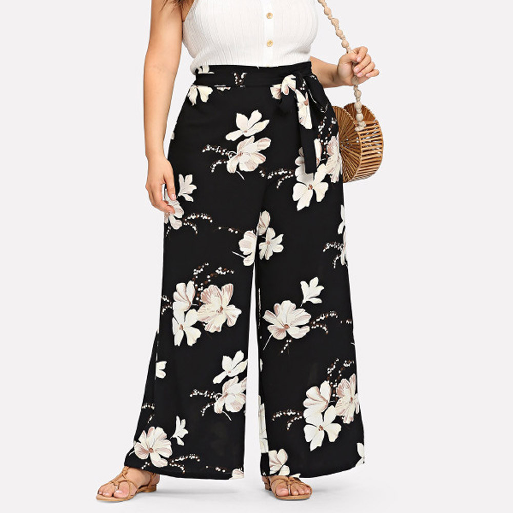 2019 fashion Womens Plus Size Casual   Wide     Leg     Pants   Floral Printed Bow Bandage Maxi Trousers W308