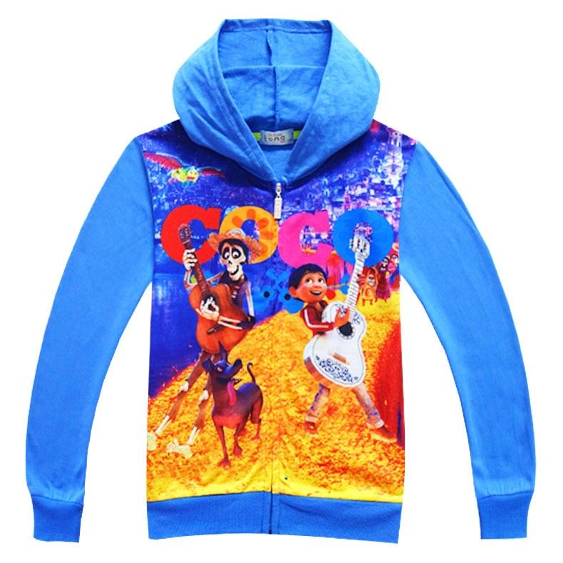 2018 Kids Hoodies Baby Boys Girls Sweatshirt Children Clothing Print Cartoon Coco Cardigan Sweater Zipper Long Sleeve Fleece Top