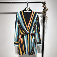 Dress Women Sale Polyester A line Plus Size 2019 New Dress Fashion High Waist Color Matching Striped Crepe Woman Long Sleeve