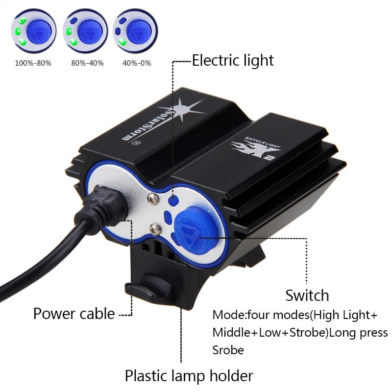 Suya davamlı Velosiped İşıq 2 * T6 LED Velosiped İşıq 4 Modu - Velosiped sürün - Fotoqrafiya 5