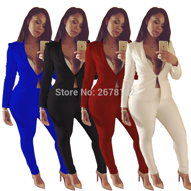 e0d042efb2dd Two piece Pant Suits 2018 spring summer long sleeve Casual Sexy Jacket+long  trouser 2 Piece Set white blue black elegant outfit-in Pant Suits from  Women's ...