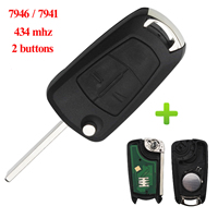 Jingyuqin 2 Buttons 434Mhz PCF7946/PCF7941 Car Key Remote for Vauxhall Opel Astra H 2004 2009 Zafira B 2005 2013 Car Accessories
