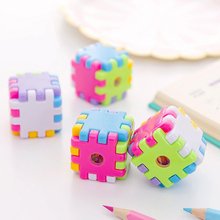 1X Creative Cartoon cube small pencil sharpener Kawaii Stationery Pencils Sacapuntas School office supplies Gift