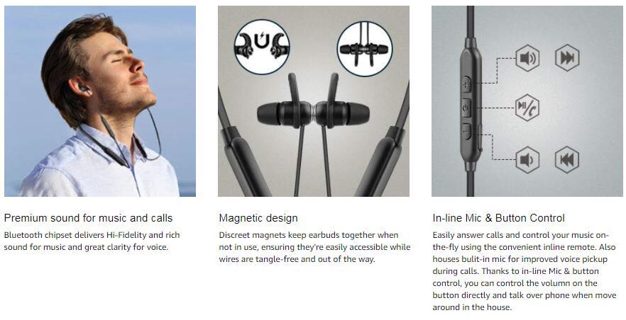 Bluetooth earphone wirelss
