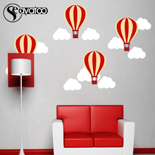 Cartoon Hot Air Balloon Clouds Vinyl Wall Sticker Decal Kid Baby Bedroom Nursery Stickers Decor 95x160cm