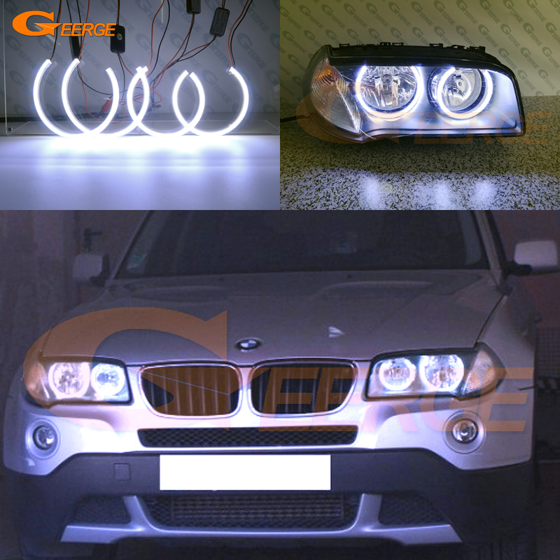 For BMW E83 X3 2007 2010 Halogen headlight Excellent Ultra bright illumination COB led angel eyes kit halo rings-in Car Light Assembly from Automobiles & Motorcycles