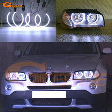 For BMW E83 X3 2007-2010 Halogen headlight Excellent Ultra bright illumination COB led angel eyes kit halo rings hochitech for bmw e83 x3 2003 2010 ultra bright day light drl ccfl angel eyes demon eyes kit warm white halo ring