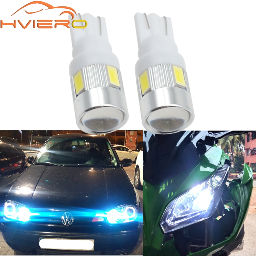 2X T10 W5W Interior Xenon White blue red LED CANBUS 6SMD 5630 Cree Lens Projector Solid Aluminum Bulbs Side Marker Parking Light