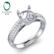 Caimao Round Cut 14k White Gold 0.33ct 6.5mm Natural Full Cut Diamond Ring Prong caimao 18kt 750 white gold 2 15 ct natural if blue tanzanite aaa 0 31 ct full cut diamond engagement gemstone ring jewelry